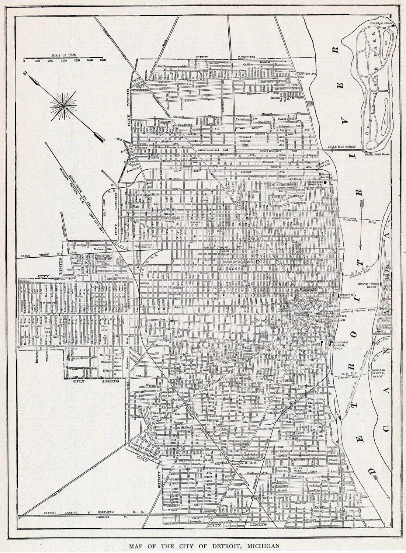 Street map Detroit Michigan