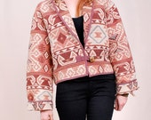 Vintage Southwest Blanket Jacket - ROSE pink hues, coolest geometric print, woven tapestry fabric  - FREE Worldwide Shipping