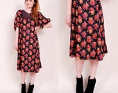 Vintage 70s Rose Print Tent Dress - dark hippie, black fabric, rose print, open shape - FREE Worldwide Shipping