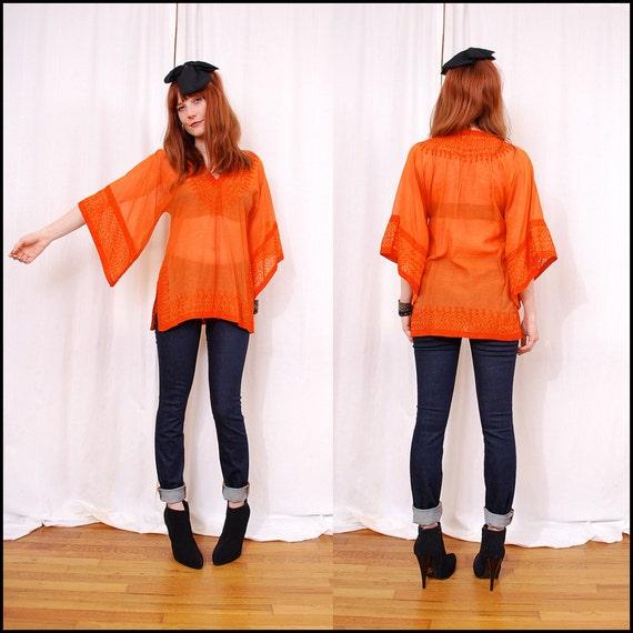 Vintage 70s Embroidered Tunic Ethnic Tunic Sheer Blouse - hippie boho, tangerine orange, kaftan tunic xs s m - FREE Worldwide Shipping