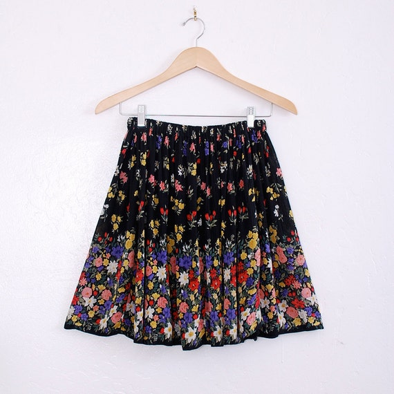 Adorable Handmade Mini Skirt xs/s/m - floral border print, colorful tulips and roses - FREE worlwide shipping