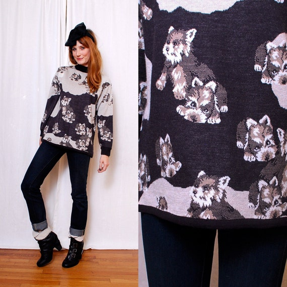 Adorable Vintage Scotty DOG PRINT Sweater - great shape, cutest print, one of a kind -  FREE Worldwide Shipping