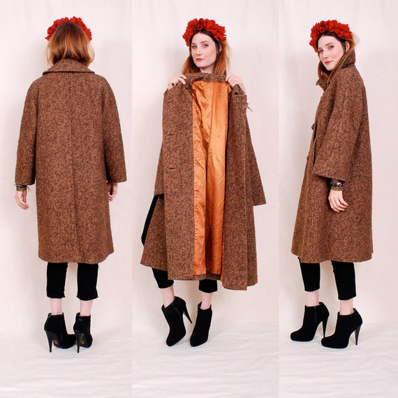 Vintage Adorable 60's Swing Coat - gorgeous chestnut brown hue with a boucle texture and copper satin lining - FREE Worldwide Shipping