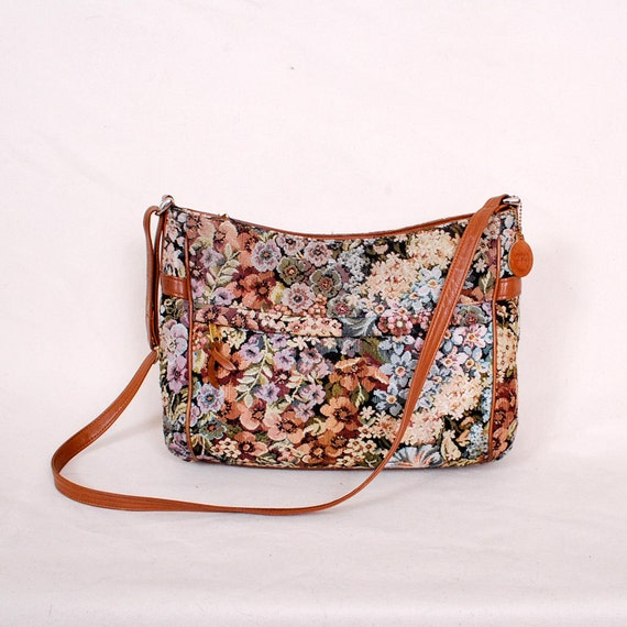 Vintage Tapestry Purse - floral print, woven bag, leather straps, 80s purse - Free Worldwide Shipping