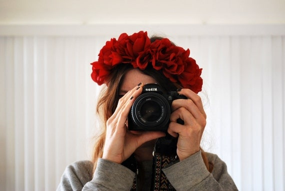 RED ROSE HEADBAND crown // Red Flower Crown / small red roses, statement headband, festival headband, wedding hair accessories, headress