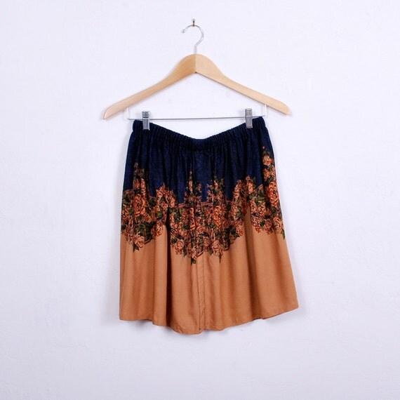 Floral Skirt - Mini Skirt - High Waist - handmade, vintage fabric, color block border print, xs s m - FREE worlwide shipping