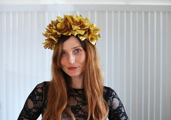 BEAUTIFUL Romantic Floral Crown - metallic shiny gold roses, statement headband, so chic - FREE worldwide shipping