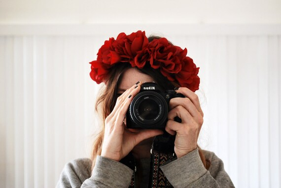 BEAUTIFUL Romantic Floral Crown - dark red roses, statement headband, so chic - FREE worldwide shipping