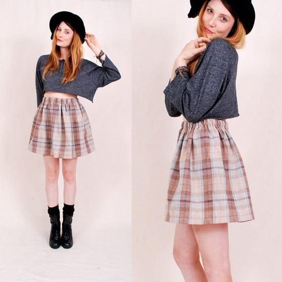 Handmade Mini Skirt High Waist Mini Skirt Bell Shape  xs s m - plaid wool, natural earth tones FREE worlwide shipping