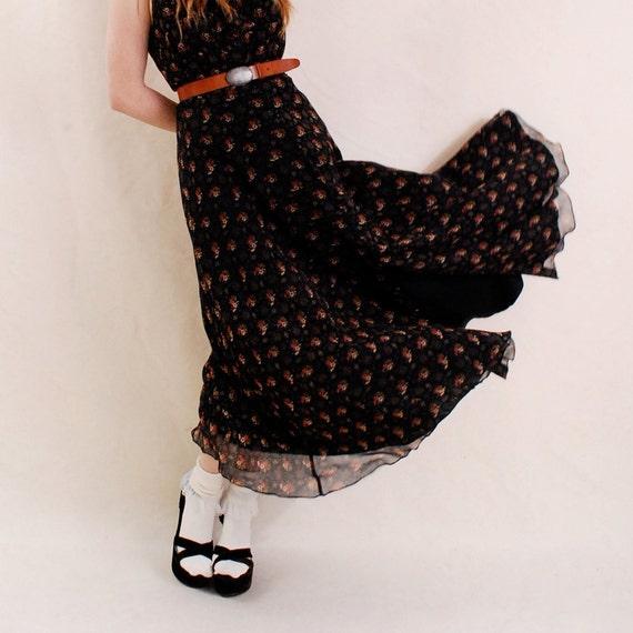 Vintage Maxi Dress Sheer Dress, m medium 6 - sheer silk, floral print, ruffle collar dress, Ralph Lauren Dress - FREE Worldwide Shipping