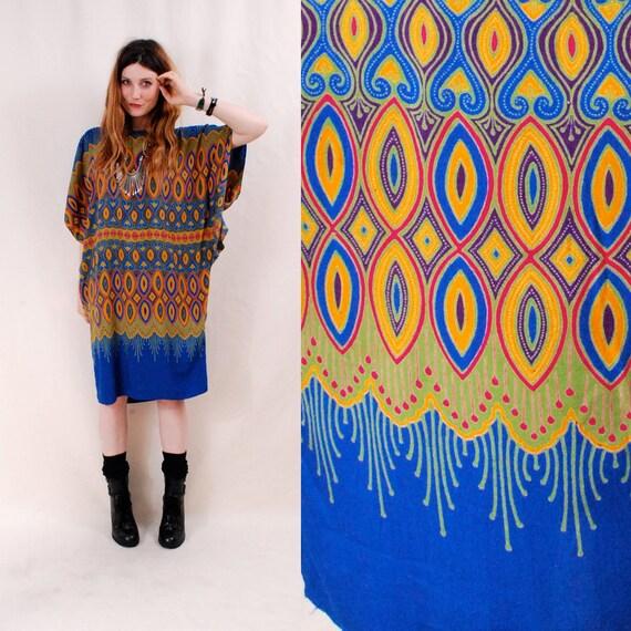 Reserved 70s dress caftan tunic dress, batik print,  one size - indian tunic,  ethnic tribal,  hippie dress - FREE Worldwide Shipping