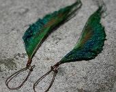 Long Feather Earrings - Peacock Earrings on Copper Kidney Wires - Copper River