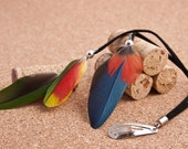 Feather Hair Clip - CRUELTY FREE  Parrot Feathers Silver Beads - Patchouli