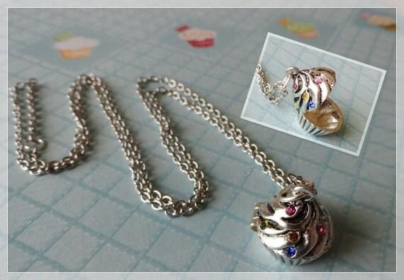 Cute Cupcake Locket Necklace Free Shipping