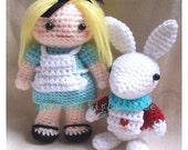Instand Download Amigurumi Crochet PDF pattern - Alice in wonderland and rabbit