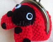 Instant Download Amigurumi Crochet PDF Pattern - Lady Bug Coin purse