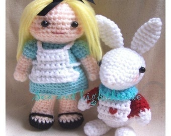 Instand Download Amigurumi Crochet PDF pattern - Alice in wonderland and rabbit