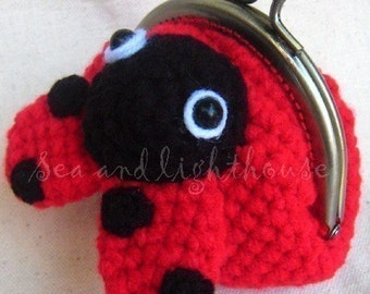Amigurumi Pattern,Lady Bug Coin Purse,Coin Purse Pattern,Crochet Pattern,Crochet Coin Purse,Crochet PDF Pattern,Crochet Animal Pattern