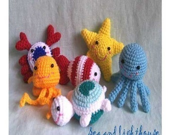 Instant Download Amigurumi Crochet PDF Pattern  - Little friends from ocean.