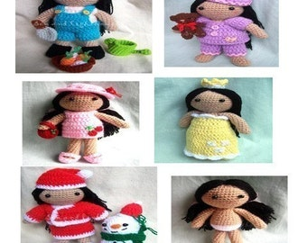 Instand Download Amigurumi Crochet PDF pattern - Joy with five outfits