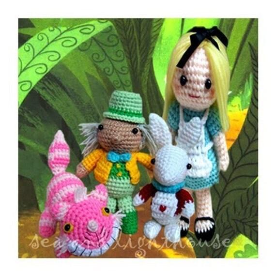 Instant Download Amigurumi Crochet PDF Pattern - Alice in wonderland Set SAVE UP