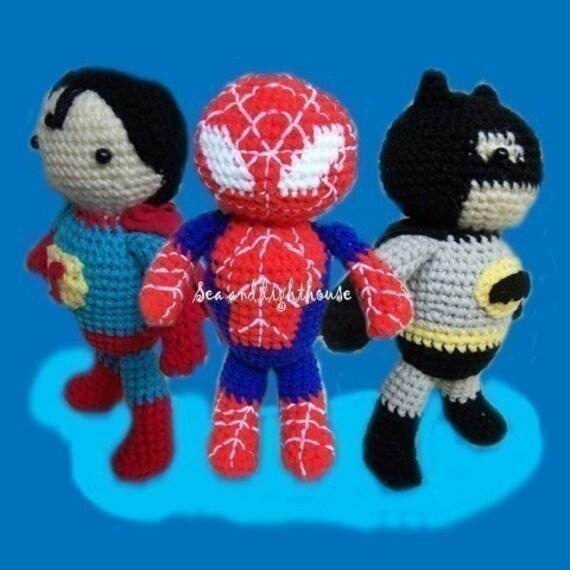 Knitting Pattern For Spiderman Doll : Crochet pattern Set of 3 Hero