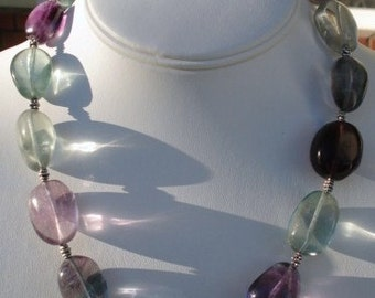 Fluorite Necklace And Earrings
