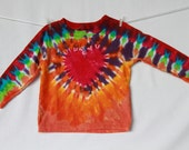 Children Tshirt Tie Dye 2T Red Heart Purple Orange Golden Lime Jade Long Sleeve 2TieDye4