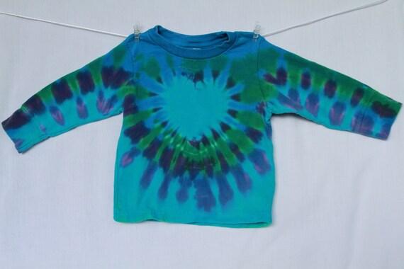 Children Tshirt Tie Dye 2T Blue Heart Lime Green Jade Long Sleeve 2TieDye4