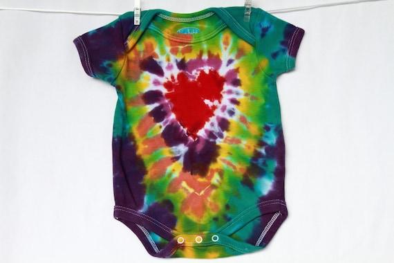 Newborn Baby Onesie Tie Dye red heart bright colors purple yellow green turquoise AnnThenBaby