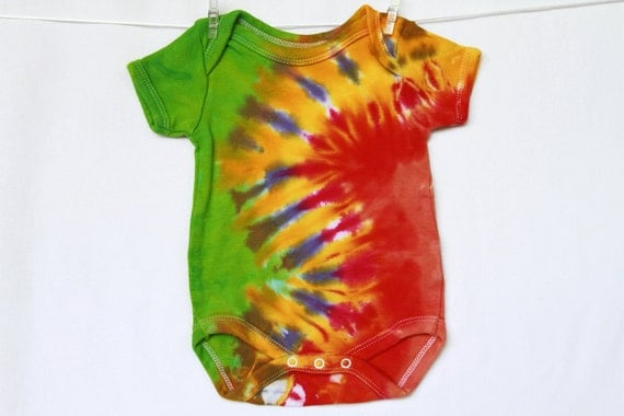 Baby Onesie Newborn Tie Dye Lime Tangerine Lilac Red Golden Short Sleeve 2tiedye4