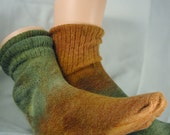 Olive green and tan Angora socks size 9-11 Women, St. Patrick's Day Gift