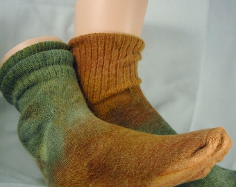 Olive green and tan Angora socks size 10-13, Ankle Tall. Birthday gift