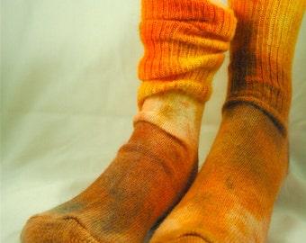 Orange ANGORA socks women or men CREW size 9-11  birthday or Easter gift