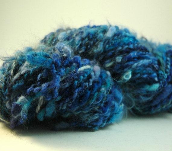 Cobalt, sapphire blue black textured chunky handpainted hand dyed Angora yarn