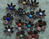 SALE - Set of 6 - Flower Magnets Steel Metal Glass  - 6 FOR 30.00