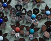 Set of 3 - Flower Magnets Steel Metal Glass  - 3 FOR 15.00