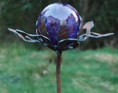 Garden Glass Ball - GARDEN STAKE - Metal Steel Enclosure