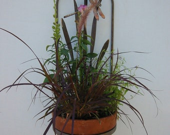 Metal Flower Pot Holder Dragonfly Grass Cattail