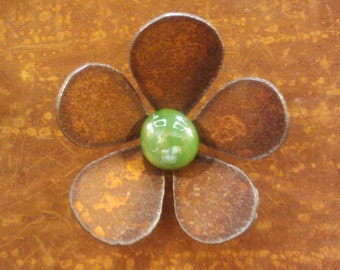 Flower Magnet Rusted With Glass