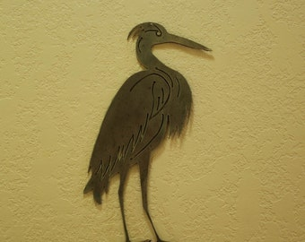 Metal Heron Garden Stake - 16 Inches tall - Minature