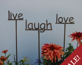 CHOOSE ANY 3 from our list - Set of 3 Garden Signs - live, laugh, love - or  3 of your choice - 3rd one 1/2 off