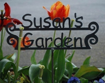 GREAT Gift - Custom Name Garden Sign with YOUR NAME Personalized - 14 Design Styles to choose from