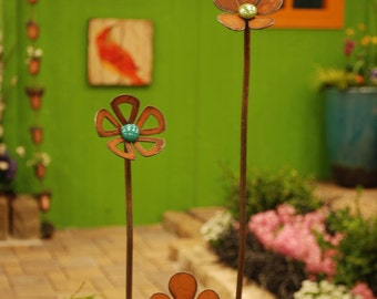 3 - Flower Squiggle Stakes - 3  heights - Rusted with Glass