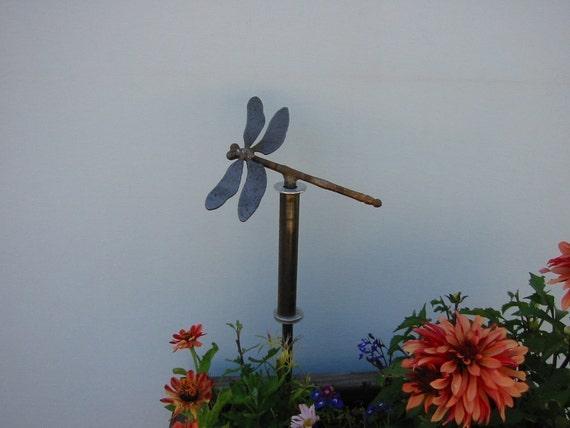 metal dragonfly hose guide garden stake