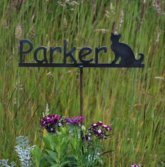 Garden Name Stake - Cat Memorial Garden Marker - Metal Sign