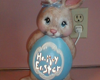 Personalized  Ceramic  Easter  BUNNY RABBIT Lamp or Light UP