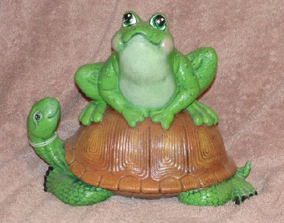 Frog on turtle garden ceramic garden decor home by ragdoll722 for Turtle decorations for home