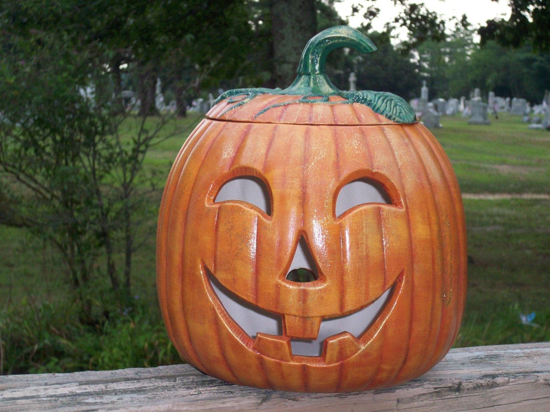Ceramic Jack O Lantern Halloween Pumpkin Lamp Light Up