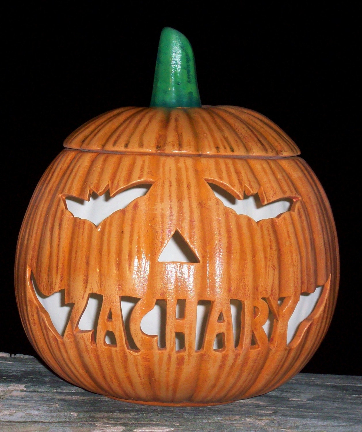 Personalized Ceramic Pumpkin Jack O Lantern Lamp Light With